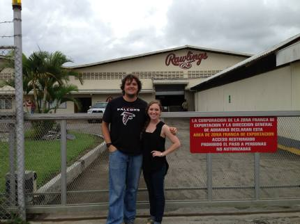 Two students from LCSL pose in front of the Rawlings factory. Photo courtesy of Erin Horn.