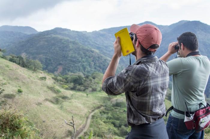 Jamie Alfieri (left) and Arturo Cruz (right) look over the San Luis Valley.