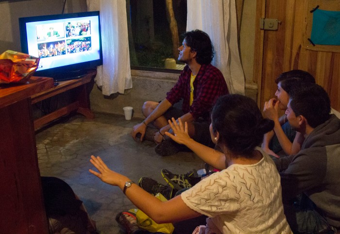 Feb 2nd Election: UGA Costa Rica staff gather to watch as the results come in election night.