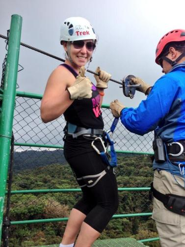 Student Alexandria Desantis is ready for her ziplining adventure!