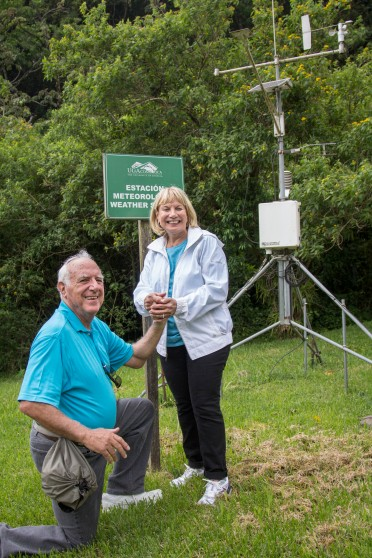 Paul and Roni Gross pose in front of the campus weather station, which was made possible thanks to a contribution by Mr. Gross.