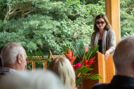 Cindy Coyle, Executive Director/CFO for the UGA Foundaiton, during her address at the dedication of the Paul A. Gross Faculty Residence.