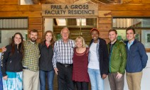 Students from the Nature and Environmental Design study abroad program pose for a photo with Paul and Roni Gross.