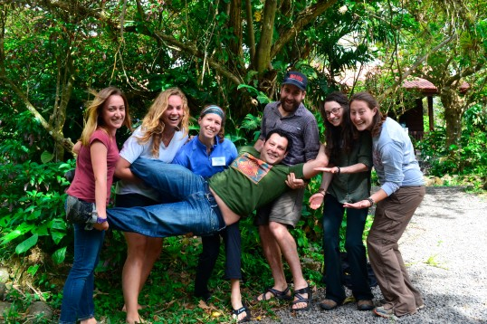 As always, the interns laugh and enjoy their time spent with Arturo. Here they hold their cloud forest guru – and might not let go!