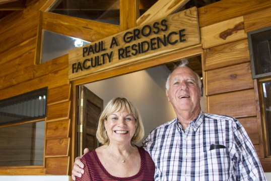 Paul Gross stands with his wife, Roni beneath the Paul A. Gross Faculty Residence, a faculty house dedicated to Mr. Gross for his work in having established the Paul A. Gross Undergraduate Student Support Fund, which aids students in studying abroad at UGA Costa Rica.